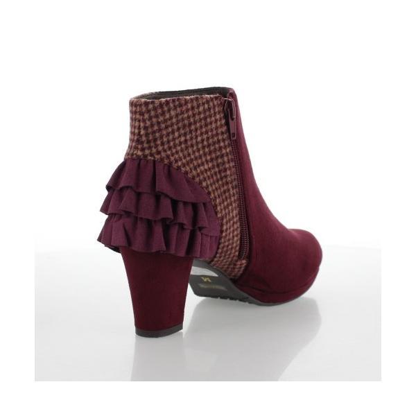 JELLY BEANS ジェリービーンズ 靴 2200 ブーツ ショート フリル ヒール スエード調 ワイン レッド レディース セール|washington|03