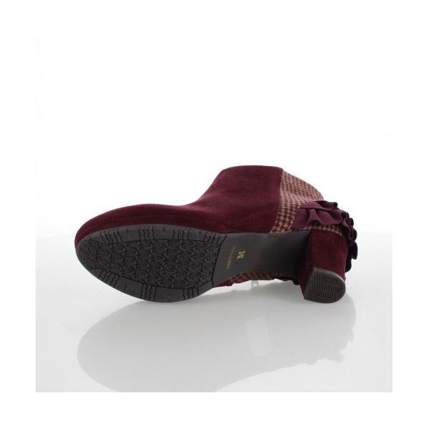 JELLY BEANS ジェリービーンズ 靴 2200 ブーツ ショート フリル ヒール スエード調 ワイン レッド レディース セール|washington|05