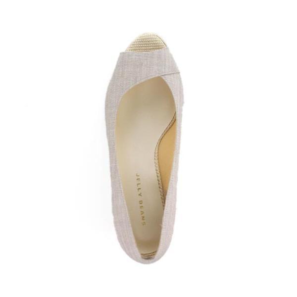 JELLY BEANS ジェリービーンズ 靴 9826 オープントゥ パンプス ローヒール ウェッジソール グレー レディース セール|washington|04