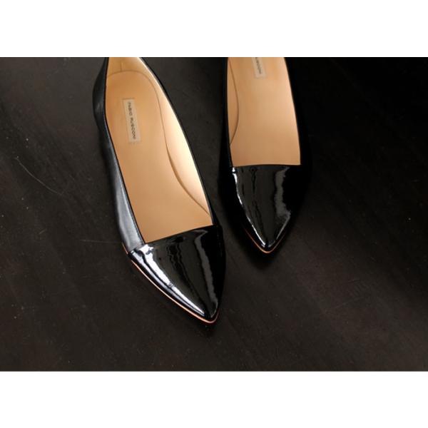 ファビオルスコーニ FABIO RUSCONI パンプス 靴 81002 エナメル ポインテッドトゥ フラット 切り替え ブラック 黒 セール
