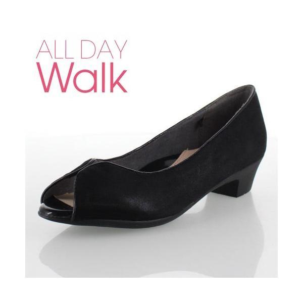 オールデイウォーク ALL DAY Walk 靴 2100 210 パンプス オープントゥ ローヒール 撥水 消臭 2E 黒 ブラック レディース セール|washington