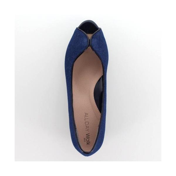 オールデイウォーク ALL DAY Walk 靴 2100 210 パンプス オープントゥ ローヒール 撥水 消臭 2E ネイビー デニム レディース セール|washington|04