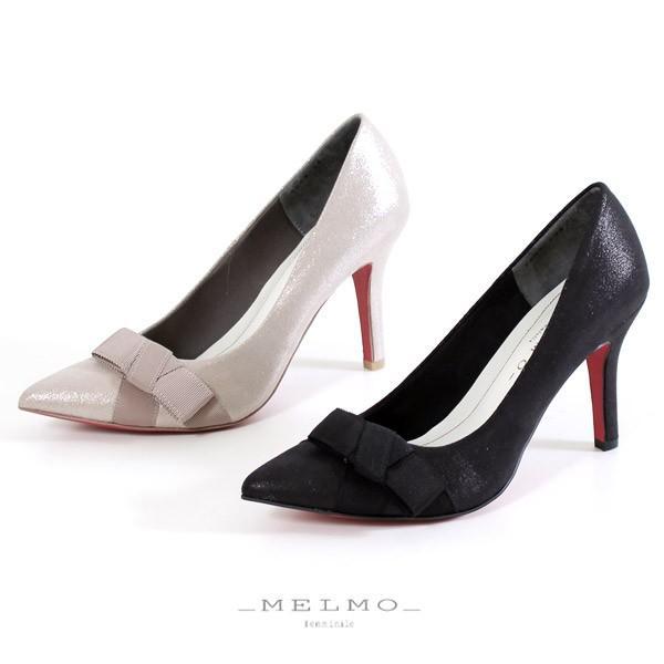 MELMO 靴 メルモ 7588 パンプス レッドソール リボン ポインテッドトゥ ハイヒール ラメ ブラック プラチナ 日本製 セール