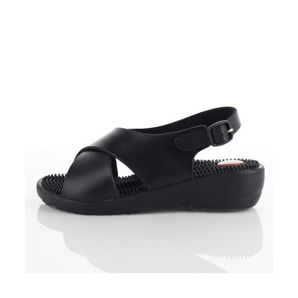pure walker HEALTH ピュアウォーカー ヘルス 靴 PW7609 オフィスサンダル 健康サンダル ツボ 黒 ブラック レディース