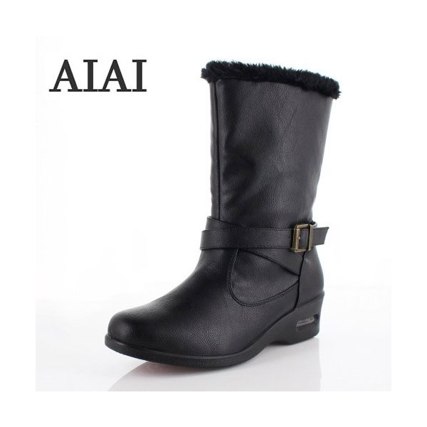 AIAI アイアイ 靴 9530 ブーツ 4E 防水 ミドルブーツ シンプル ボア ウェッジヒール 黒 ブラック レディース|washington