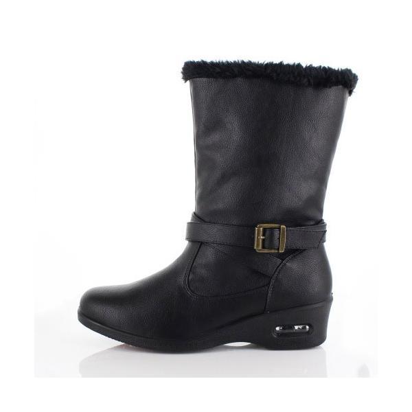 AIAI アイアイ 靴 9530 ブーツ 4E 防水 ミドルブーツ シンプル ボア ウェッジヒール 黒 ブラック レディース|washington|02