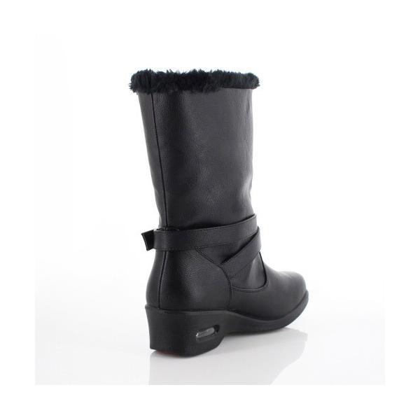 AIAI アイアイ 靴 9530 ブーツ 4E 防水 ミドルブーツ シンプル ボア ウェッジヒール 黒 ブラック レディース|washington|03