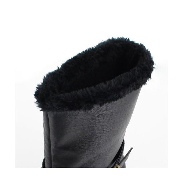 AIAI アイアイ 靴 9530 ブーツ 4E 防水 ミドルブーツ シンプル ボア ウェッジヒール 黒 ブラック レディース|washington|04