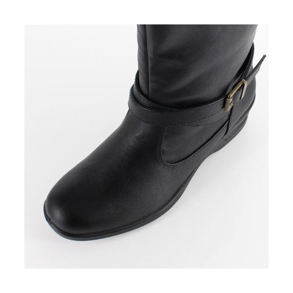 AIAI アイアイ 靴 9530 ブーツ 4E 防水 ミドルブーツ シンプル ボア ウェッジヒール 黒 ブラック レディース|washington|06
