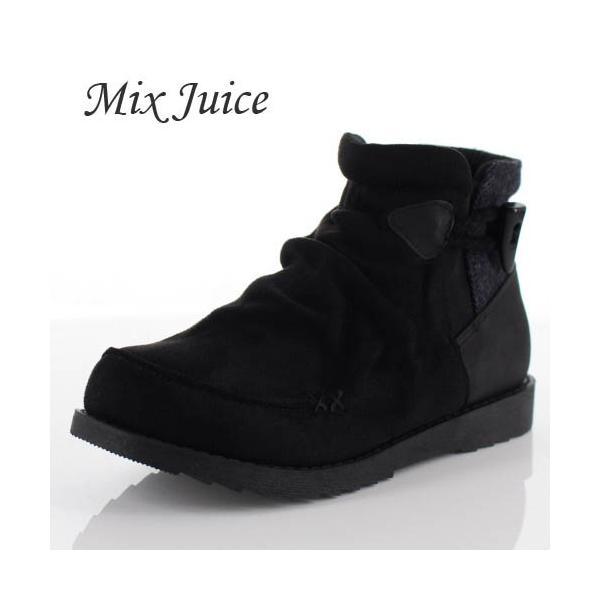 Mix Juice ミックスジュース 靴 9434 ブーツ ショートブーツ 撥水加工 サイドゴア 防滑 ローヒール ベロア調 ブラック 黒 レディース washington