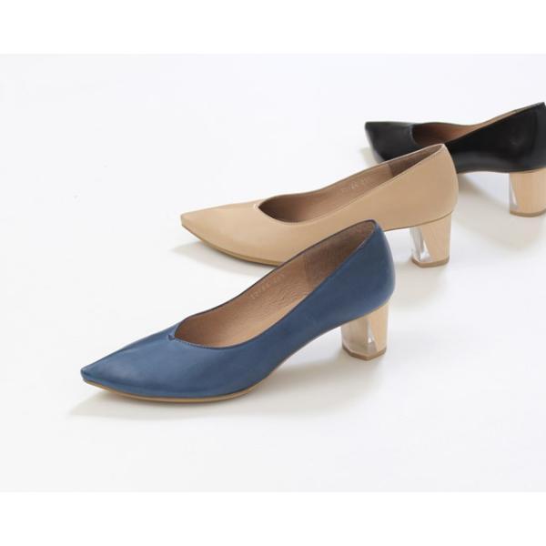 RABOKIGOSHI works 靴 ラボキゴシ ワークス 12164 本革 Vカット パンプス 太ヒール クリア レディース セール|washington|02