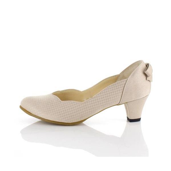 JELLY BEANS ジェリービーンズ 靴 2685 パンプス フラワーカット ヒール バックリボン パーティー ふわさら ベージュ レディース セール|washington|02