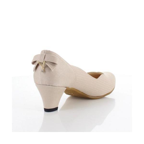 JELLY BEANS ジェリービーンズ 靴 2685 パンプス フラワーカット ヒール バックリボン パーティー ふわさら ベージュ レディース セール|washington|03