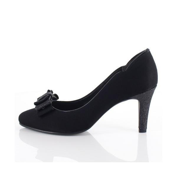 Le Chione ルキオネ 靴 7394 パーティー パンプス リボン ビジュー ラウンドトゥ 結婚式 ブラック 黒 レディース washington 02