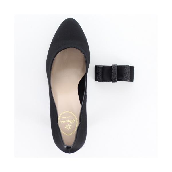 Le Chione ルキオネ 靴 7394 パーティー パンプス リボン ビジュー ラウンドトゥ 結婚式 ブラック 黒 レディース washington 04