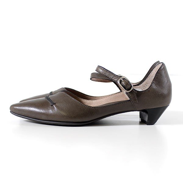 RABOKIGOSHI works 靴 ラボキゴシ ワークス 11739 GRYA ストラップ パンプス ローヒール ベルト 本革 レディース