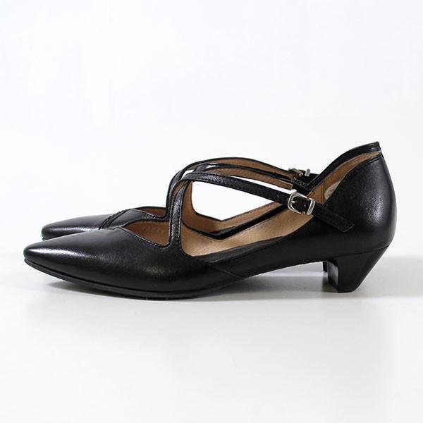 RABOKIGOSHI works 靴 ラボキゴシ ワークス 12018D B 本革 クロスストラップ パンプス ヒール ローヒール レディース 日本製 大きいサイズ