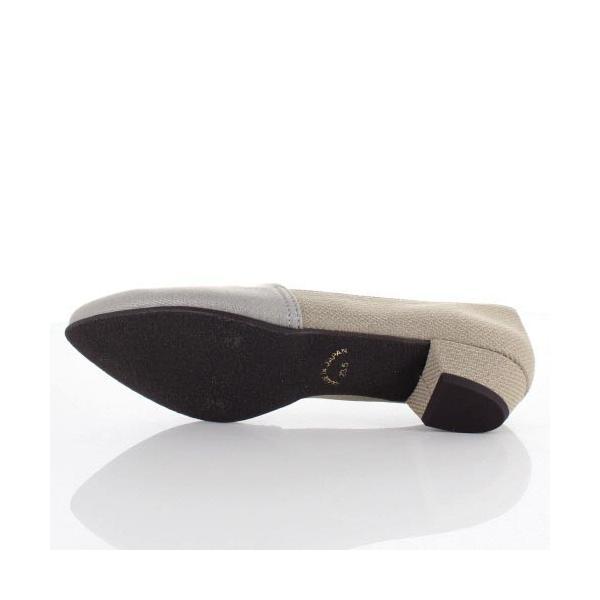 STYLE JELLY BEANS ジェリービーンズ 靴 2124 パンプス ストレッチ スリッポン ローヒール オーク グレー ラメ レディース