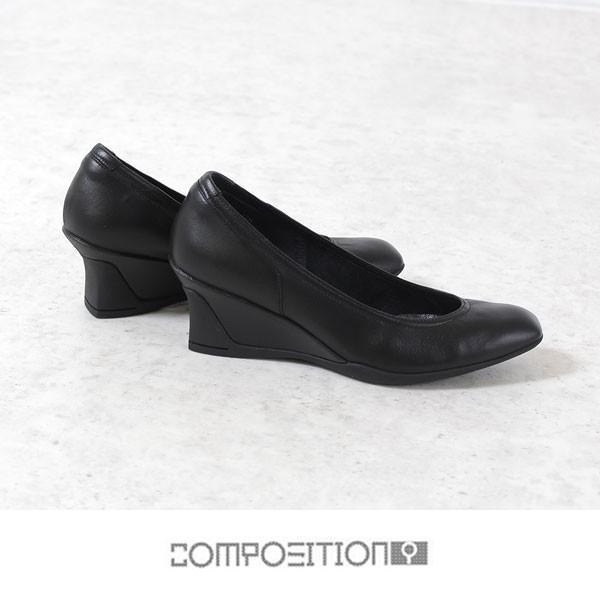 コンポジションナイン COMPOSITION9 靴 2707 コンフォートパンプス レディース  ウェッジソール ヒール パンプス ブラック 黒|washington|02