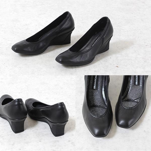 コンポジションナイン COMPOSITION9 靴 2707 コンフォートパンプス レディース  ウェッジソール ヒール パンプス ブラック 黒|washington|03