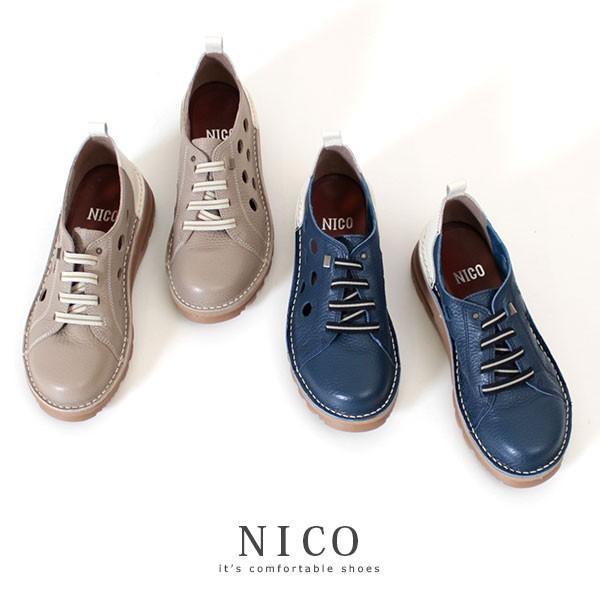 コンフォートシューズ 靴 レディース NICO ニコ 128 グレー ネイビー 大きいサイズ 4E 本革 カジュアル 日本製 撥水 抗菌 幅広 ゆったり セール|washington|02