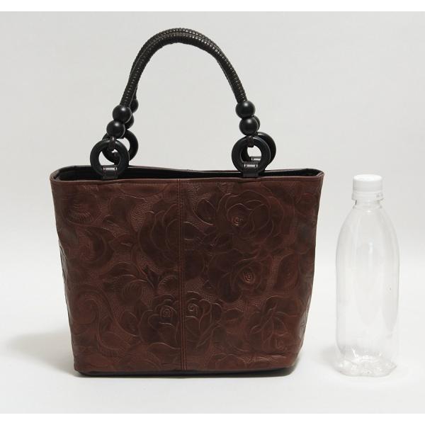 バッグ レディース 婦人用 牛革 フラワー 手提げ あおり 茶 紫 黒 日本製