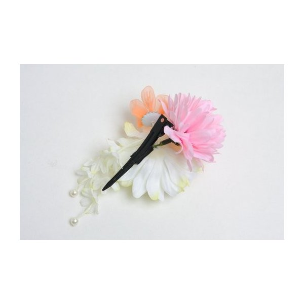 髪飾り コサージュ イエロー ピンク ブルー 和装 浴衣 着物  NO,608