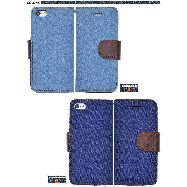 3a768399ca ... アイフォンケース iPhone5C用 デニムデザインスタンドケースポーチ 手帳型 横開き アイフォン5C|