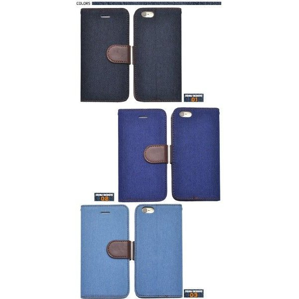 iPhone6/iPhone6S(4.7インチ)用 デニムデザインスタンドケースポーチ 手帳型 スタンド機能 アイフォン6|watch-me|04