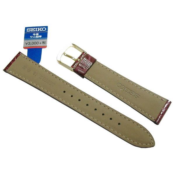 時計用 ベルト 18mm セイコー SEIKO 牛革ワニ竹斑型押し DE85 エンジ メンズ  正規品