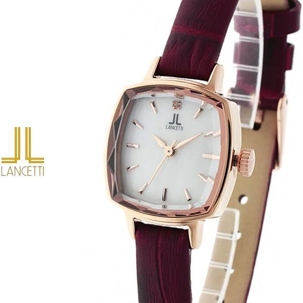 d1c322d5a8 レディース 腕時計 LANCETTI ランチェッティ LT-6208R-WHRE 天然ダイヤモンド カットガラス ローズゴールド ワイン