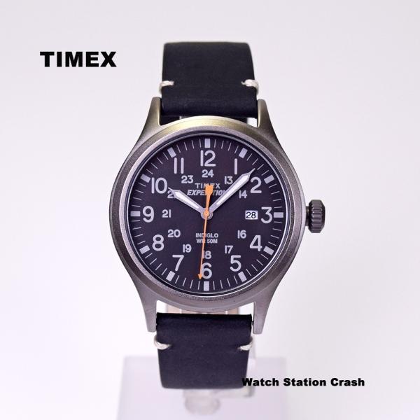 腕時計 メンズ TIMEX TW4B01900 本革 ミリタリー ブラック TIMEX EXPEDITION SCOUT METAL BOXなし メール便 watchcrash