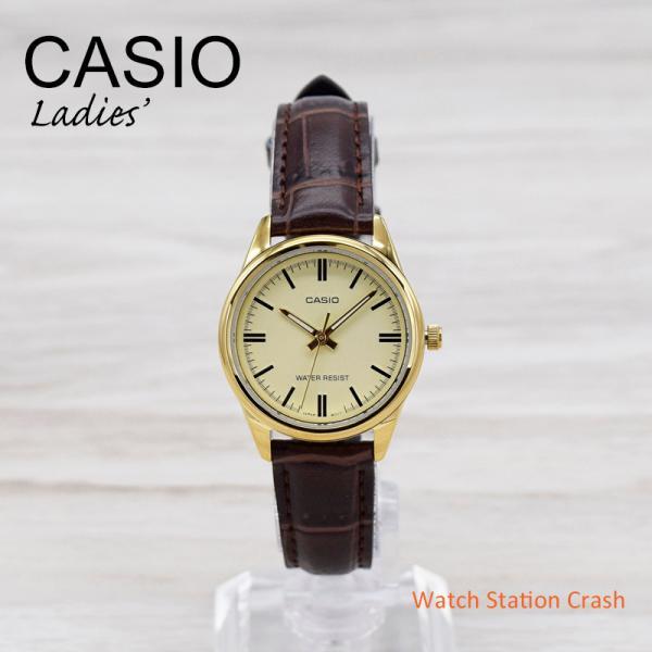 腕時計レディースCASIOLTP-V001GL-7Bチープカシオチプカシゴールド文字盤ブラウンベルト