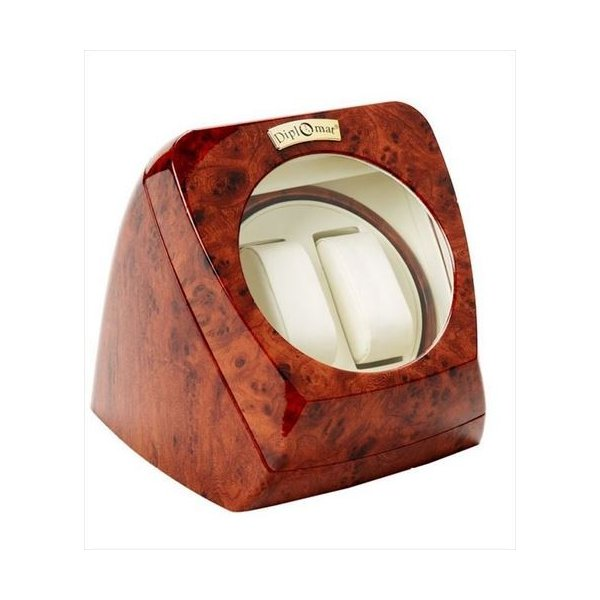Diplomat ディプロマット ウォッチワインダー Burl Wood Double Watch Winder with Leather Interior and Multi-Setting Smart IC Timer