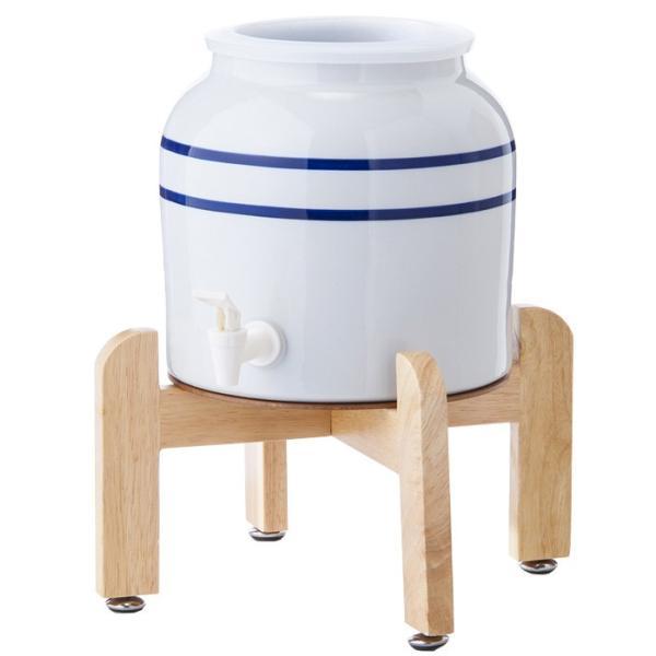 陶器製サーバー スプリングウェル(リングタイプ)ウォーターサーバー 常温 陶器製 木製スタンド付き 卓上