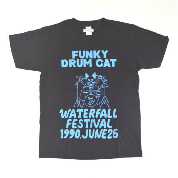 猫 ロック Tシャツ ドラム イラスト 夏 フェス レコード Waterfall Wf
