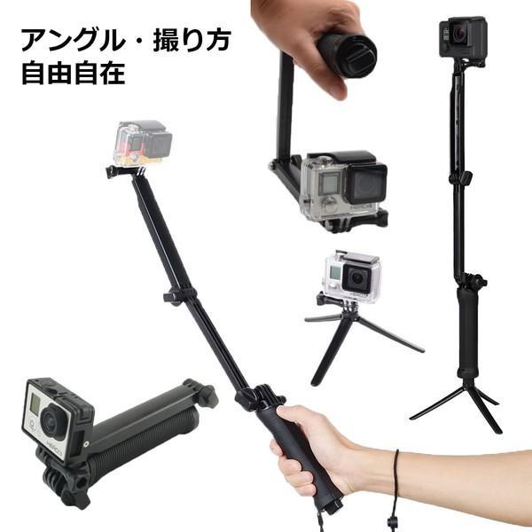 GoPro 8 ゴープロ hero8 MAX 三脚 自撮り棒 ラバーグリップ 3way ラバー ショーティー 変形 安い アクションカメラアクセサリー|wavy|04