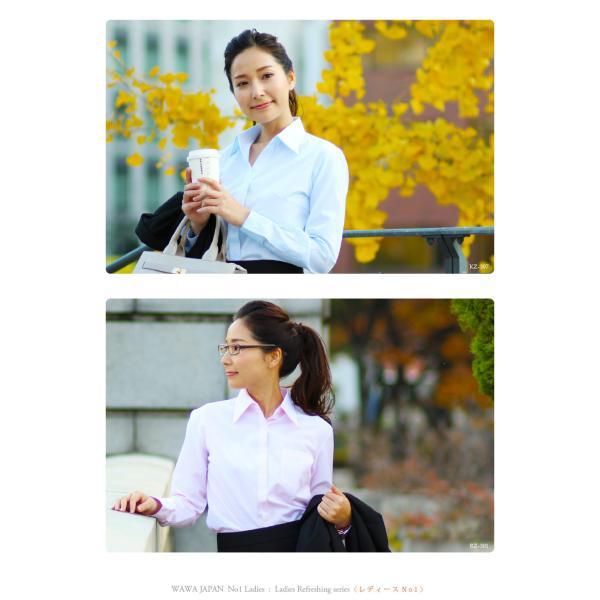 18種類から選べる レディース半袖 七分袖 長袖  白ドビー 無地 ブラウスシャツ|wawajapan|19