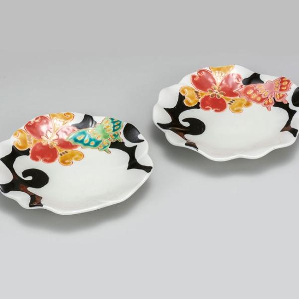 結婚祝い お返し 九谷焼 ペア盛皿 色華蝶紋 陶器 和食器 盛り皿 日本製|waza