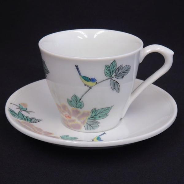来客用 九谷焼 高級 コーヒーカップ&ソーサー 5客セット 小鳥|waza|02