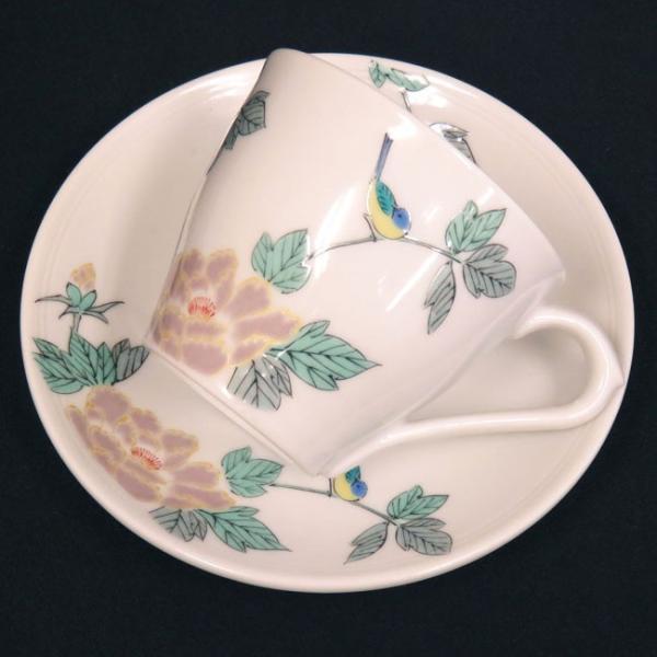 来客用 九谷焼 高級 コーヒーカップ&ソーサー 5客セット 小鳥|waza|04