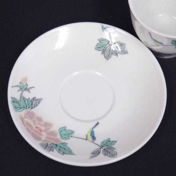 来客用 九谷焼 高級 コーヒーカップ&ソーサー 5客セット 小鳥|waza|05