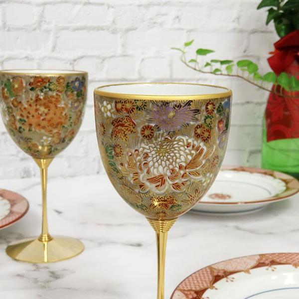 結婚祝い プレゼント 九谷焼 陶器 ペア ワイングラス 金花詰|waza|03