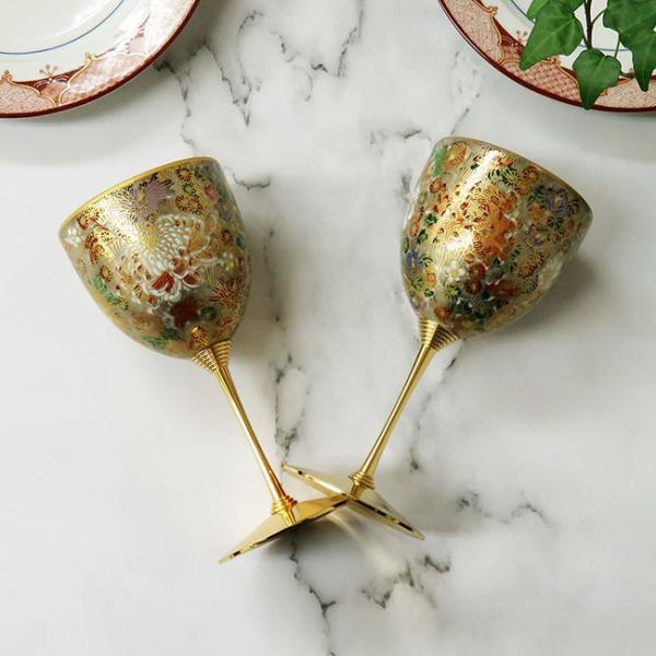 結婚祝い プレゼント 九谷焼 陶器 ペア ワイングラス 金花詰|waza|04