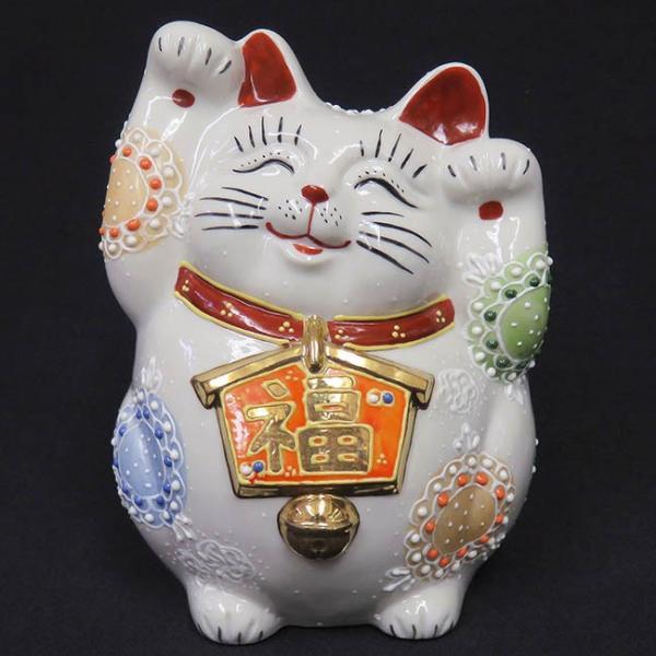 開店祝い プレゼント 九谷焼 両手上げ 絵馬招き猫 白盛 開運 置物 ご長寿祈願|waza
