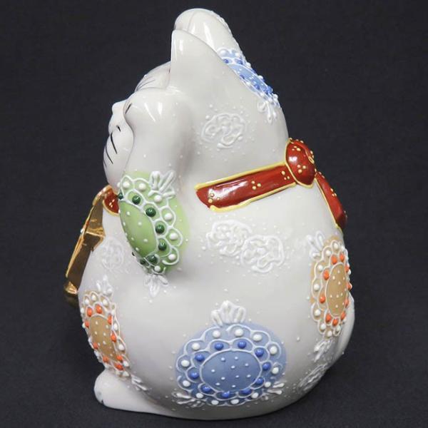 開店祝い プレゼント 九谷焼 両手上げ 絵馬招き猫 白盛 開運 置物 ご長寿祈願|waza|03