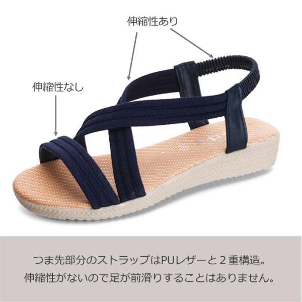 サンダル レディース 歩きやすい ぺたんこ 大きいサイズ 旅行  履きやすい|wc-y|06