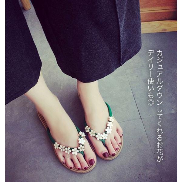 レディース 靴 サンダル ぺたんこ 春 夏 歩きやすい 大きいサイズ 小さいサイズ 大きめ 花 おしゃれ 可愛い ゆうパケット可