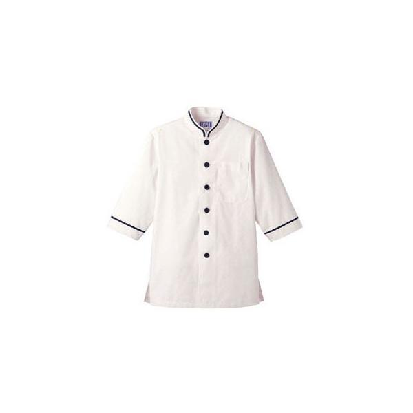 ショップコート オフホワイト×ネイビー 白×紺 4L D-1128 SKC3706 【サーヴォ サンペックスイスト 業務用 ユニフォーム 制服】
