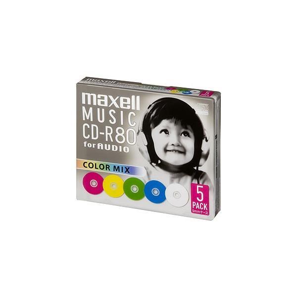 マクセル maxell 音楽用CD-R80分 カラーミックス 5枚 CDRA80MIX.S1P5S
